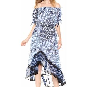 NWT Nine West Off Shoulder High Low Blue Dress